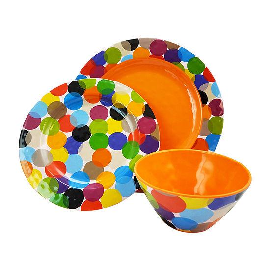 Party Circles 12 Pc Set - Round - Orange - Decorated - Melamine - 2440 G