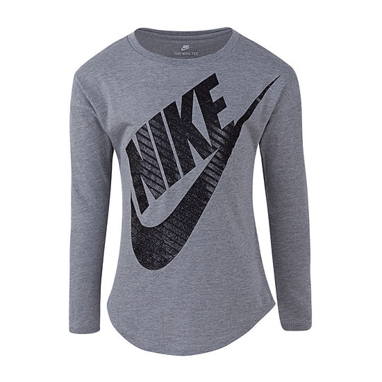 Nike Girls Round Neck Long Sleeve Graphic T-Shirt - Preschool