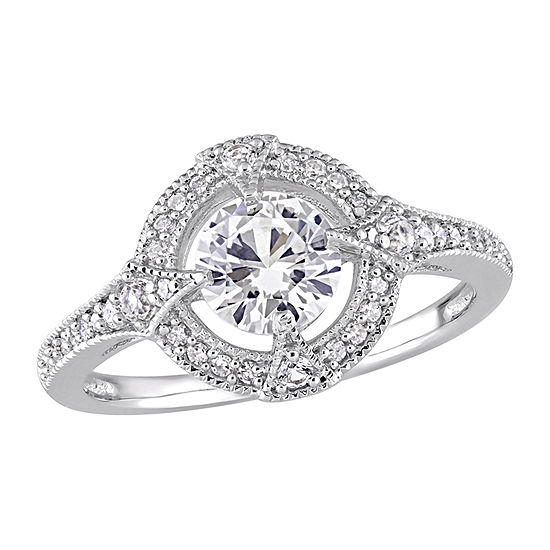 Modern Bride Gemstone Womens 1/6 CT. T.W. Lab Created White Sapphire Sterling Silver Halo Engagement Ring