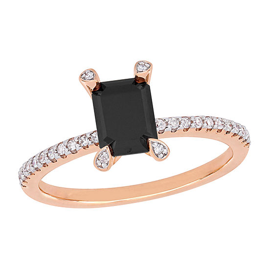 Womens 1/10 CT. T.W. Genuine Black Diamond 10K Rose Gold Solitaire Engagement Ring