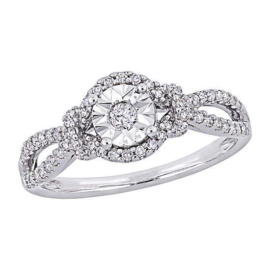 Womens 1/3 CT. T.W. Genuine White Diamond Sterling Silver Solitaire Engagement Ring