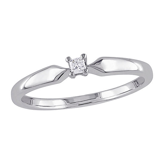 Womens Diamond Accent Genuine White Diamond Sterling Silver Solitaire Promise Ring