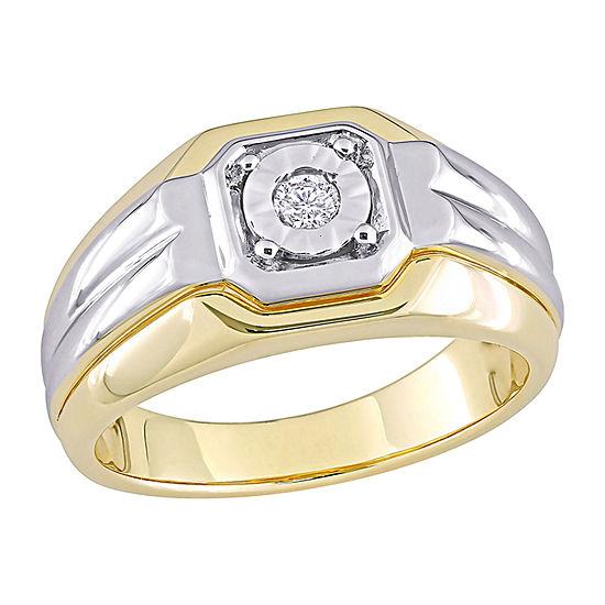 Mens 3.5MM 1/10 CT. T.W. Genuine White Diamond 18K Gold Over Silver Band