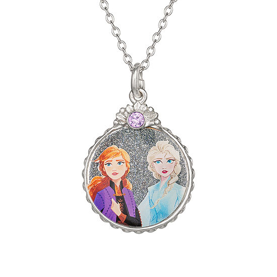 "Disney Girls Sterling Silver Frozen 2 Elsa & Anna Round Glitter Pendant Necklace with 15"" Chain"