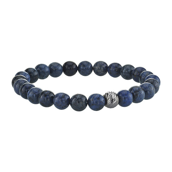 Blue Agate Sterling Silver Beaded Bracelet