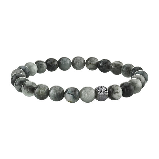 Gray Agate Sterling Silver Beaded Bracelet