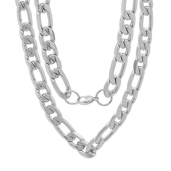 Stainless Steel 24 Inch Semisolid Figaro Chain Necklace