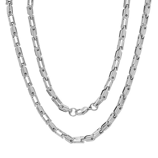 Stainless Steel 24 Inch Semisolid Anchor Chain Necklace