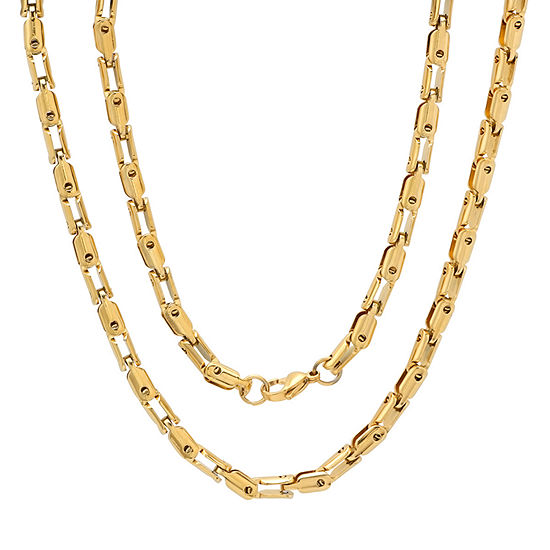 18K Gold Over Stainless Steel 24 Inch Semisolid Anchor Chain Necklace