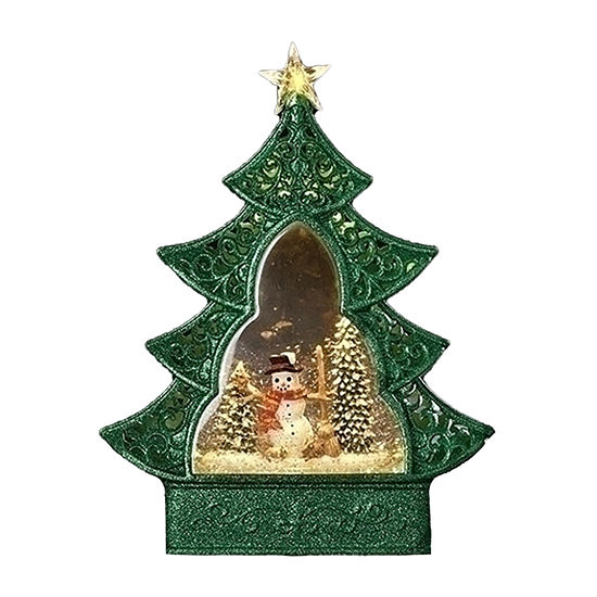 Roman Led Green Christmas  Tree With Winter Snowman Scene SnowGlobes