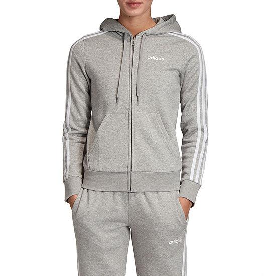 adidas Stripe Fleece Womens Long Sleeve Full Zip Hoodie