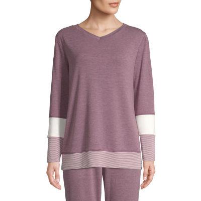 St. John's Bay Active Petite-Womens V Neck Long Sleeve T-Shirt