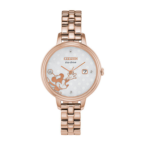 Citizen Minnie Mouse Womens Rose Goldtone Stainless Steel Bracelet Watch-Ew2448-51w