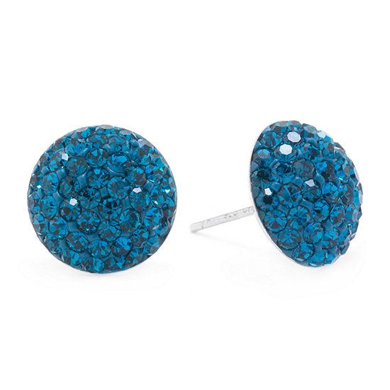 Silver Treasures Blue Crystal Sterling Silver 12mm Stud Earrings