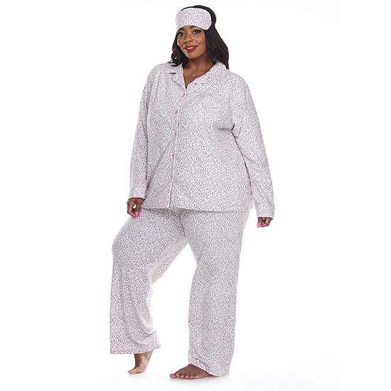 White Mark Womens-Plus Pant Pajama Set 3-pc. Long Sleeve