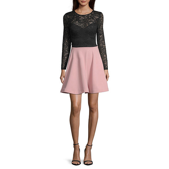 B. Darlin Long Sleeve Fit & Flare Dress - Juniors