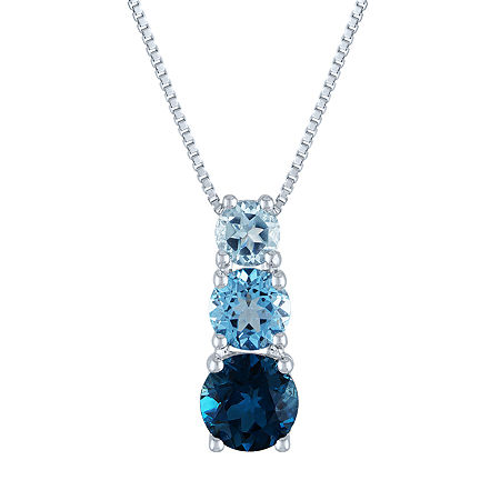 Womens Genuine Blue Topaz Sterling Silver Pendant Necklace, One Size , No Color Family