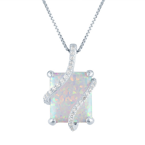 Lab-Created Opal & Lab-Created White Sapphire Sterling Silver Pendant Necklace