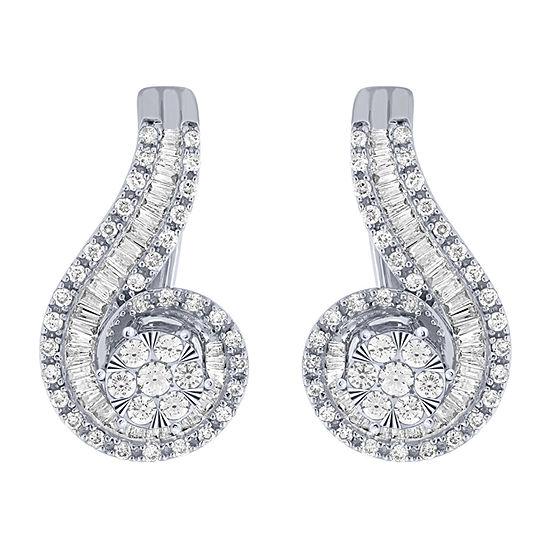 Diamond Blossom 1 CT. T.W. Genuine Diamond 10K White Gold 21.1mm Stud Earrings