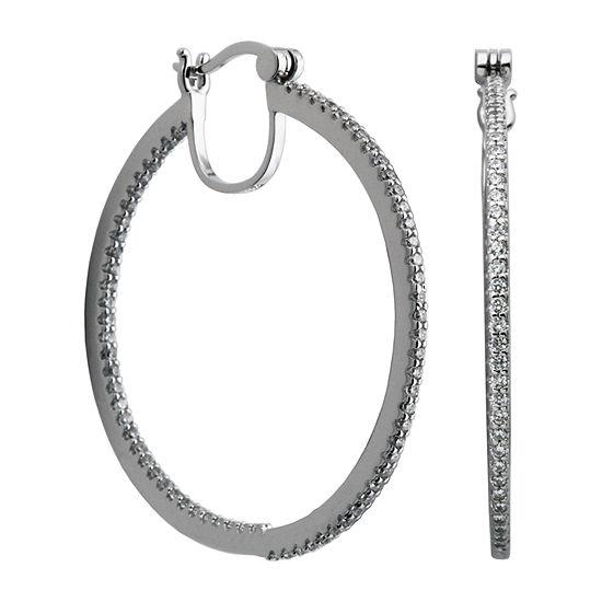 2 1/5 CT. T.W. White Cubic Zirconia Sterling Silver 40mm Hoop Earrings