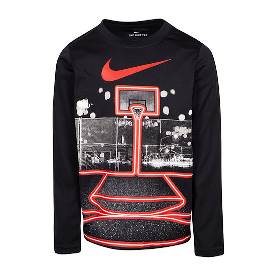 Nike Boys Round Neck Long Sleeve Dri-Fit T-Shirt-Preschool