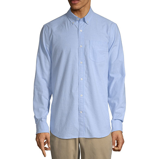 St. John's Bay Stretch Mens Long Sleeve Button-Front Shirt