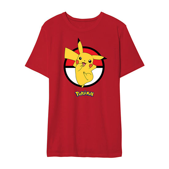 Mens Crew Neck Short Sleeve Pokemon Graphic T-Shirt