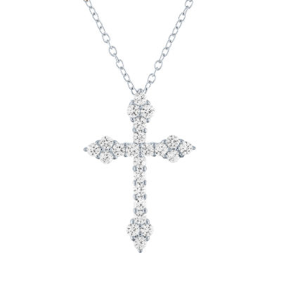 LIMITED TIME SPECIAL! Womens Lab Created White Sapphire Sterling Silver Cross Pendant Necklace