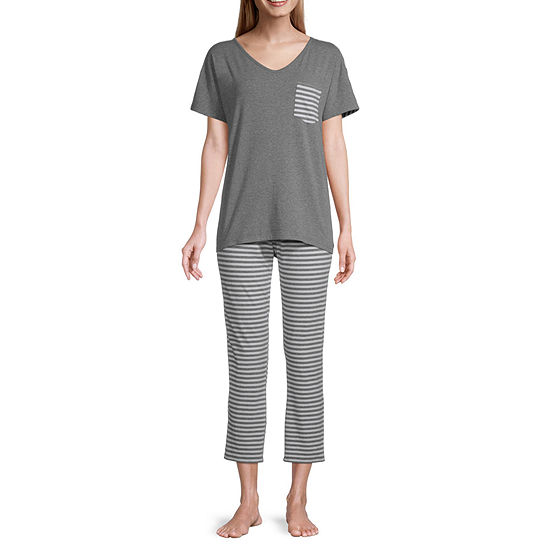 Liz Claiborne Womens 2-pc. Short Sleeve V Neck Capri Pajama Set