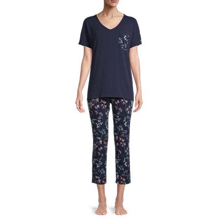 Liz Claiborne Womens 2-pc. Short Sleeve V Neck Capri Pajama Set. Small . Blue
