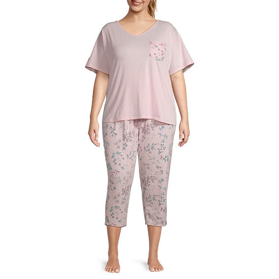 Liz Claiborne Womens-Plus 2-pc. Short Sleeve Scoop Neck Capri Pajama Set