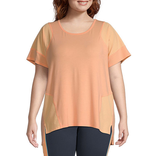 Xersion Womens Round Neck Short Sleeve T-Shirt Plus