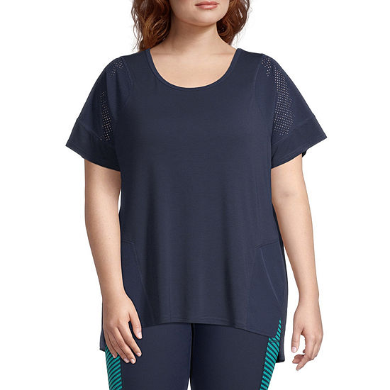 Xersion Womens Round Neck Short Sleeve T-Shirt Plus