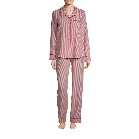 Liz Claiborne Womens-Tall Pant Pajama Set 2-pc. Long Sleeve