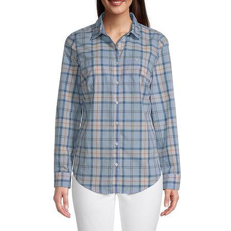 St. John's Bay Womens Long Sleeve Regular Fit Button-Down Shirt, Petite Small , Blue - 85802200034