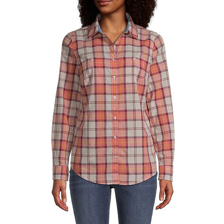St. John's Bay Womens Long Sleeve Regular Fit Button-Down Shirt, Petite Small , Orange