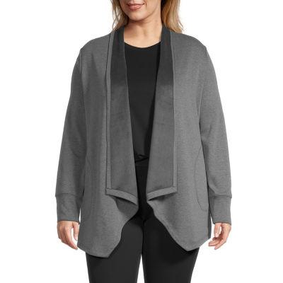 Stylus-Plus Cascade Womens Long Sleeve Open Front Cardigan