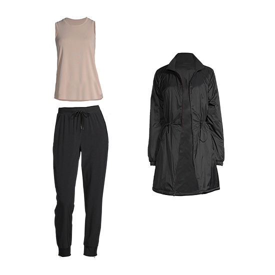 Stylus Shirttail Tank with the Rib Neck Jacket & Skinny Jogger
