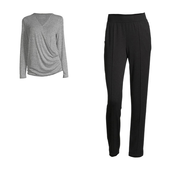 Stylus Surplice Top & Pintuck Jogger