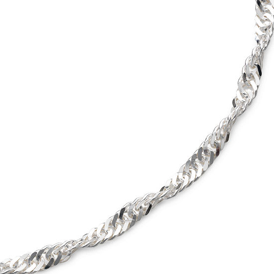 "Made in Italy 22"" Singapore Chain Sterling Silver"