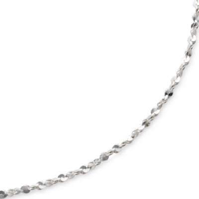 "Made in Italy Sterling 18"" 1mm Twisted Serpentine Chain"