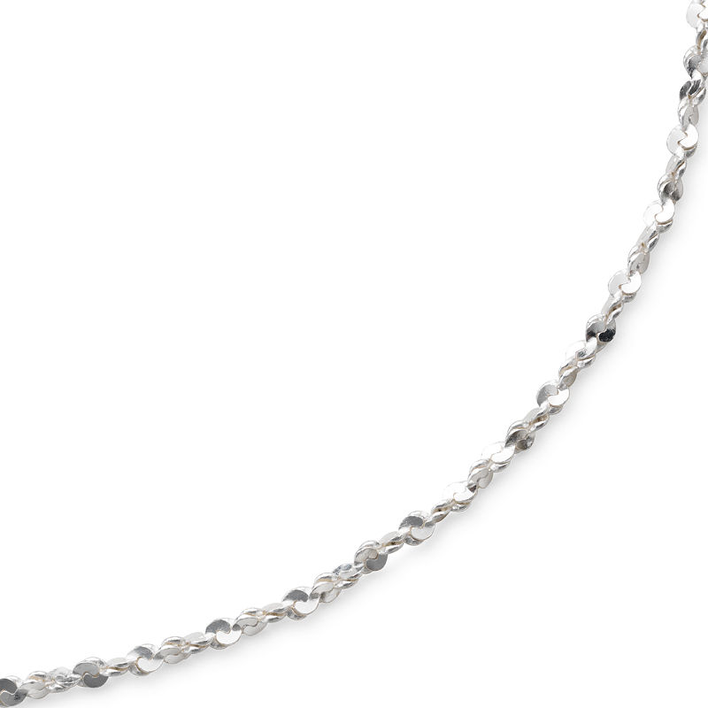Made in Italy Sterling 18 1mm Twisted Serpentine Chain