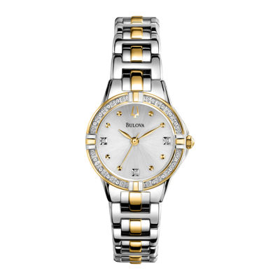 Bulova® Womens Diamond-Accent Two-Tone Stainless Steel Bracelet Watch 98R166