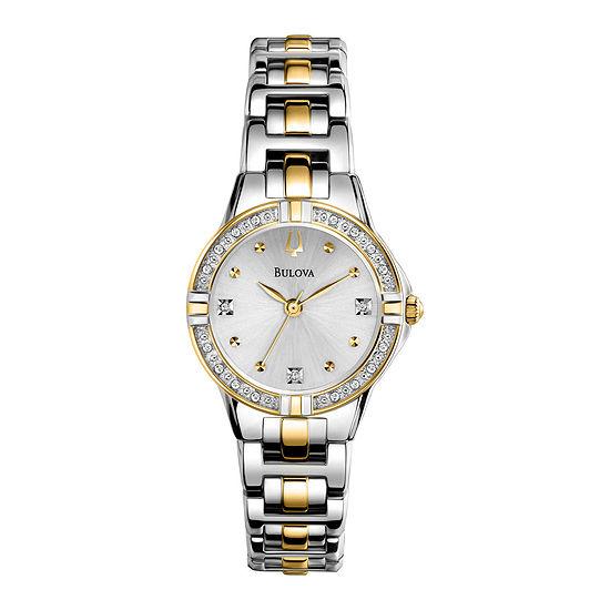 Bulova Womens Two Tone Stainless Steel Bracelet Watch-98r166
