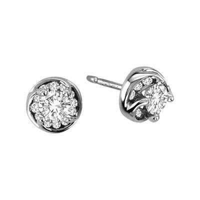 ½ CT. T.W. Diamond Stud Earrings in 14K White Gold