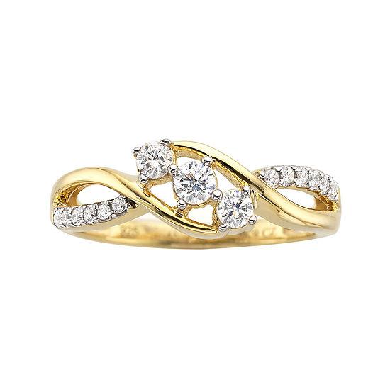 Love Lives Forever 1/3 CT. T.W. Diamond 10K Gold 3-Stone Promise Ring