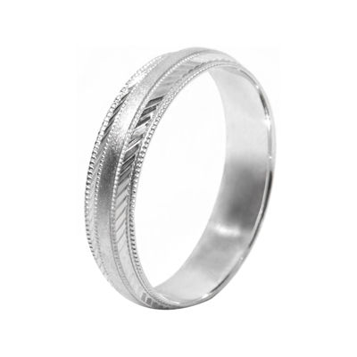 Mens 10K White Gold 5mm Engraved Wedding Band