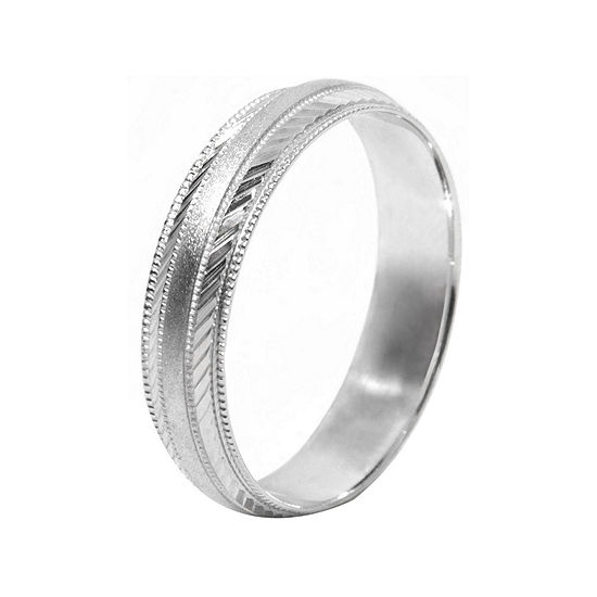 Mens 10K White Gold 5mm Engraved Wedding Band