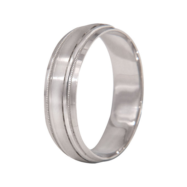 Mens 10K White Gold 6mm Wedding Band