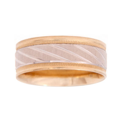 Mens 10K Two-Tone Gold 8mm Engraved Wedding Band